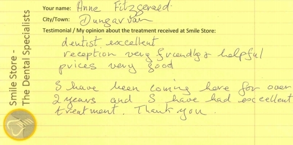 Anne Fitzgerald from Dungarvan Reviews Smile Store