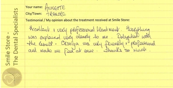 Annette from Tramore Reviews Smile Store
