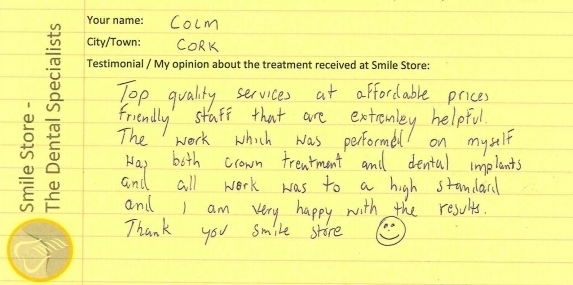 Colm from Cork Reviews Smile Store