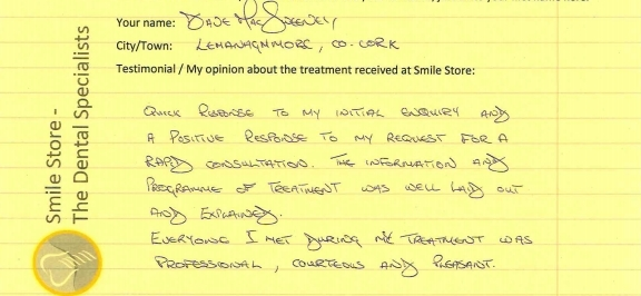 Dave MacSweeney Reviews Treatment at Smile Store