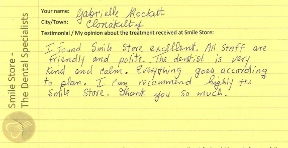 Gabrielle Rockett from Clonakilty Reviews Smile Store