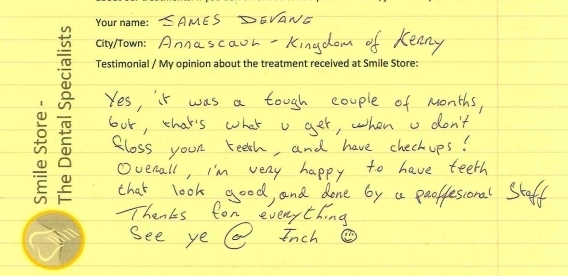James Devane from Co. Kerry Reviews Smile Store