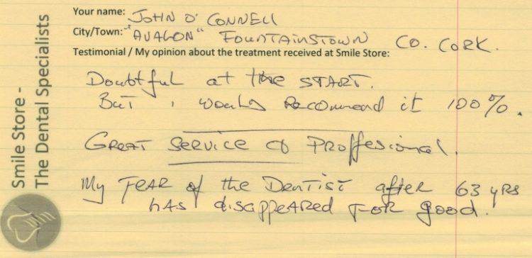 John O'Connell of Fountainstown, Co. Cork reviews Smile Store – The Dental Specialists