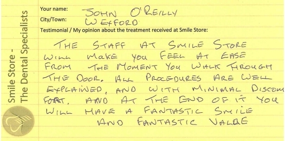 John O'Reilly from Wexford Reviews Smile Store