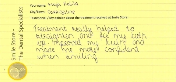 Maja Kalita Reviews Orthodontic Treatment at Smile Store
