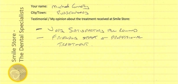 Michael Connelly from Rosscarbery Reviews Smile Store