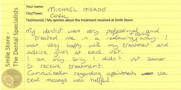 Michael Meade from Cork Reviews Smile Store