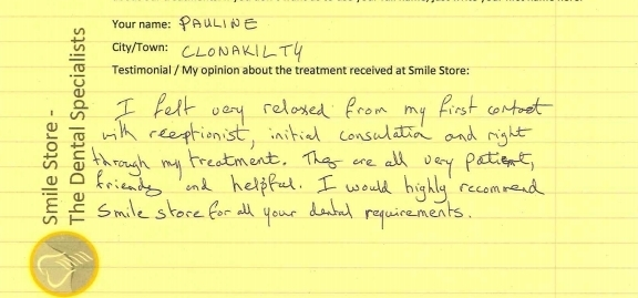 Pauline from Clonakilty Reviews Smile Store