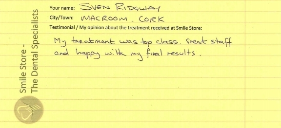 Sven Rigdeway Reviews Smile Store in Togher