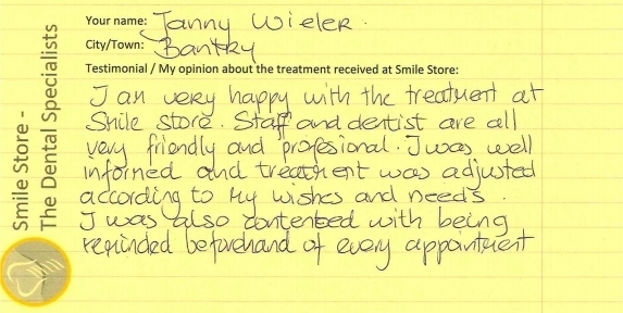 Janny Wieler Reviews Smile Store