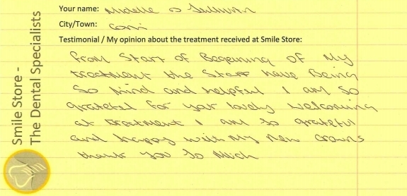 Michelle O'Sullivan Reviews Treatment at Smile Store