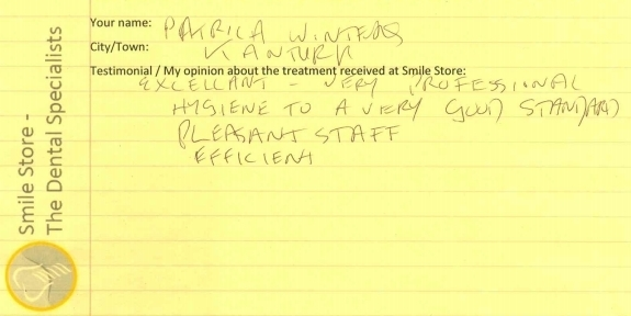 Patricia Winters Reviews Smile Store