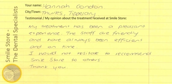Hannah from Tipperary Reviews Smile Store