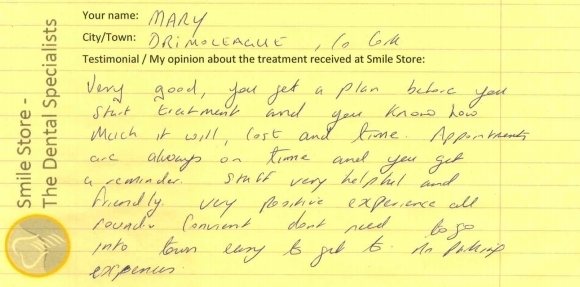 Mary from Drimoleague Reviews Smile Store